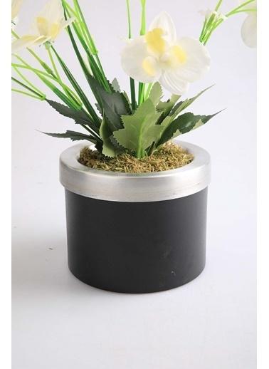 Kibrithane Çiçek Yapay Çiçek Metal Saksı Beyaz Kumaş Orkide Kc00200817 Renkli